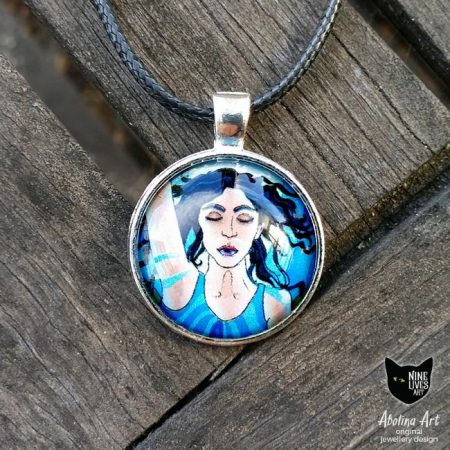Temperance art pendant 25mm set in cabochon glass dome with silver metal back