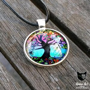 Psychedelic Dawn 25mm art pendant cabochon set in antique silver metal