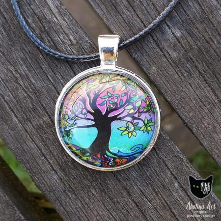 Tree of Life pendant 25mm in psychedelic dawn colours