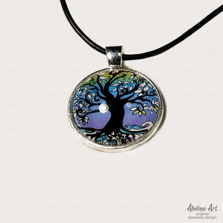 Tree of Life in purple winter hues 25mm cabochon art pendant set in antique silver metal back and strung on cord