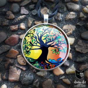 Art pendant Summer Tree of Life 40mm round with antique silver backing