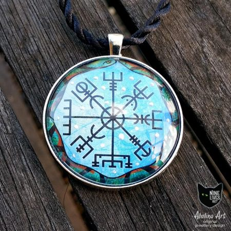 necklace featuring Norse inspired Vegvisir compass encircled by the giant sea serpent