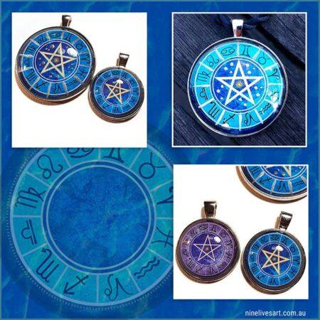 Zodiac Pentagram pendants by Abolina Art