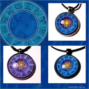 Zodiac Sun art pendants by Abolina Art