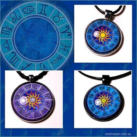 Zodiac Sun art pendants by Abolina Art