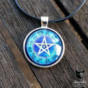Small Zodiac pendant 12 star signs on striking blue with pentagram in centre