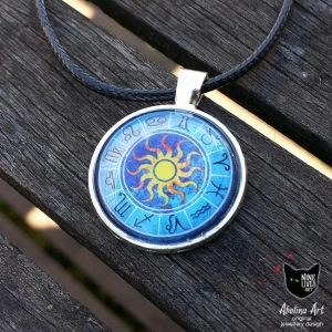 25mm zodiac wheel pendant featuring sun in centre