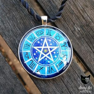 Zodiac wheel pendant featuring star signs and a pentagram