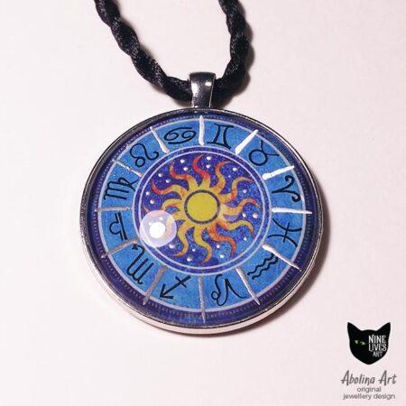 Zodiac pendant 40mm with silver enamel paint