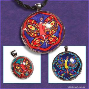 Butterfly fairy pendants in striking colours set under glass dome with silver coloured bezel and strung on cord for wearing