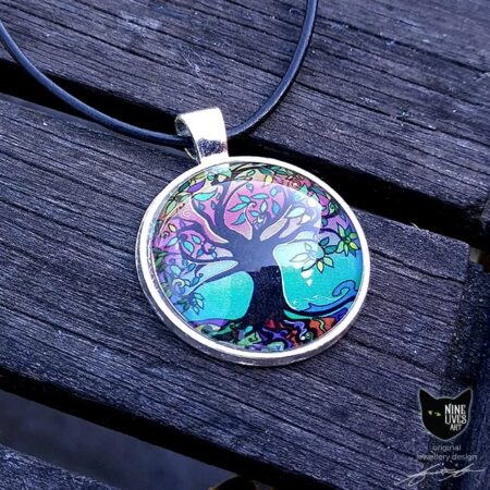Tree of Life pendant featuring pink, purple, orange and turquoise colours