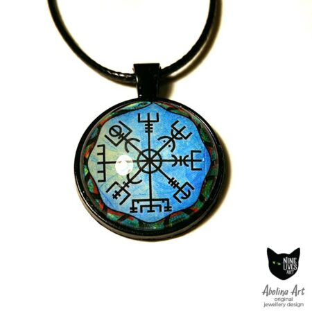 Blue Vegvisir art pendant with black backing and cord