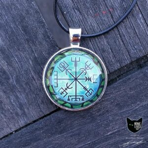 Art pendant featuring viking symbol Vegvisir on green background with snake encircling