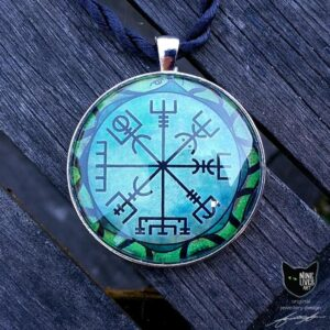 Original jewellery design featuring viking compass symbol encircled by a snake