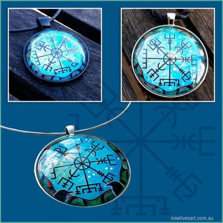 Blue Vegvisir art pendants featuring Norse wayfinder symbol and handcrafted cabochon pendant setting