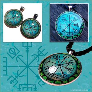 Green Vegvisir 'wayfinder' art pendants by Abolina Art