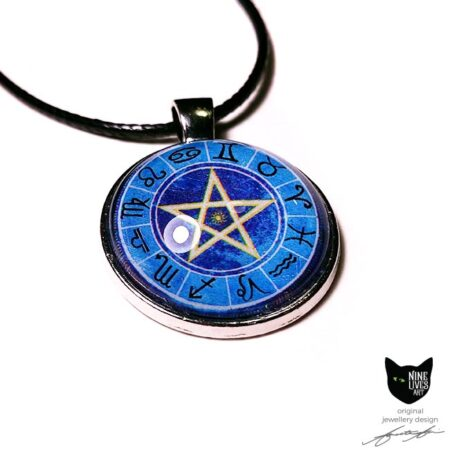 Zodiac pendant featuring star signs on blue background with pentagram in centre