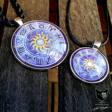 2 sizes Purple zodiac art pendants featuring star signs and a sun in the centre
