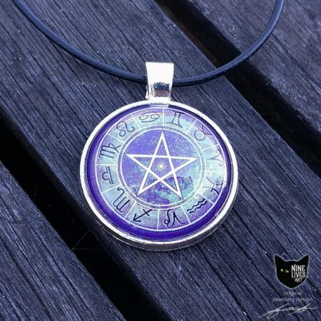 Original art pendant featuring zodiac star signs and pentagram on purple background