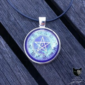 Purple Zodiac pendant 25mm with pentagram