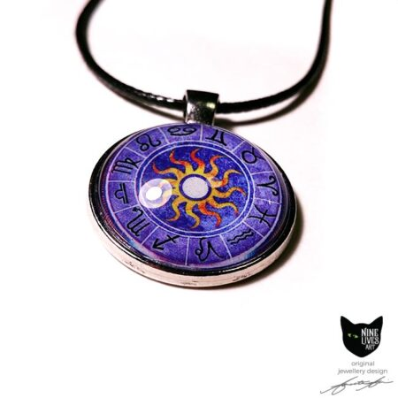 Purple Zodiac art pendant featuring star signs and sun in the centre