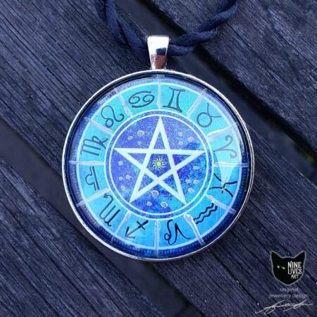 Original art pendant featuring zodiac star signs with pentagram in centre