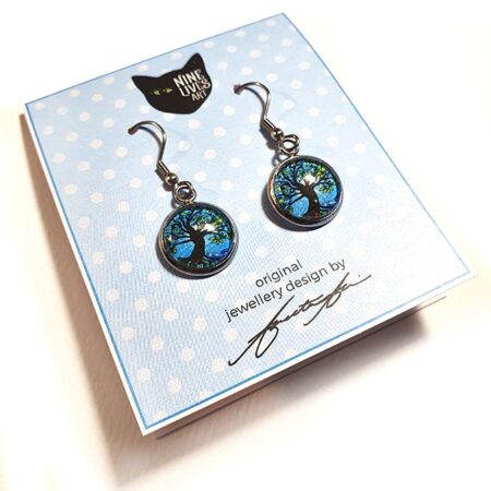 Blue Dawn - Tree of Life earrings on Nine Lives Art card - perfect gift or treat for yourself, gorgeous colours, hypoallergenic and striking to wear