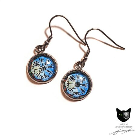 French hook style earrings with 12mm cabochon setting featuring Norse inspired wayfinder artwork on blue background - hypoallergenic stainless steel