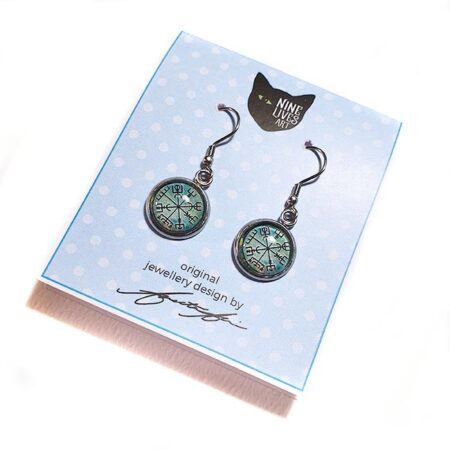 French hook style earrings with 12mm cabochon setting featuring Norse inspired wayfinder artwork on green background - hypoallergenic stainless steel