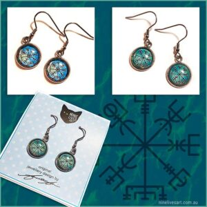 12mm earring designs featuring Norse wayfinder symbol