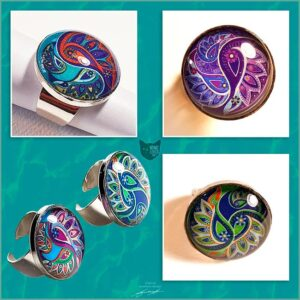 25mm cabochon ring settings with paisley flower artwork