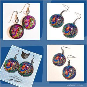 French hook earrings with 25mm cabochon settings, paisley flower inspired artwork in different colours