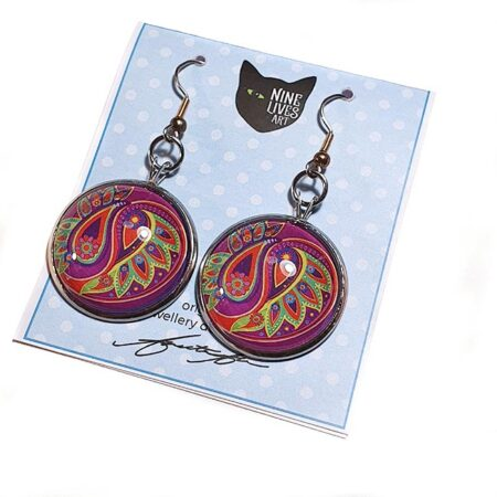 25mm cabochon earring setting with French hook, paisley flower artwork in cerise and green sealed under glass