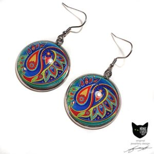 25mm round cabochon earrings with paisley inspired artwork in bold colours on jade, with French hook setting and glass dome sealing artwork