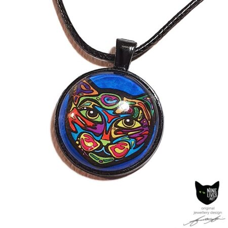 25mm pendant setting featuring psychedelic cat on turquoise under glass cabochon