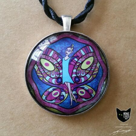 fairy in turquoise dress with purple and pink butterfly wings on a dark blue background - a striking 40mm pendant set on antique silver coloured backing under cabochon glass