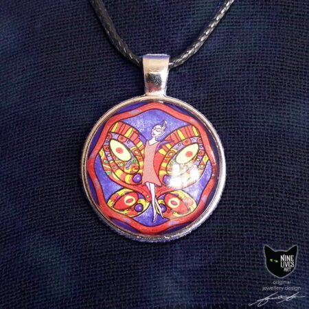 Red orange fairy with butterfly wings on indigo background - 25mm silver coloured pendant setting with glass cabochon