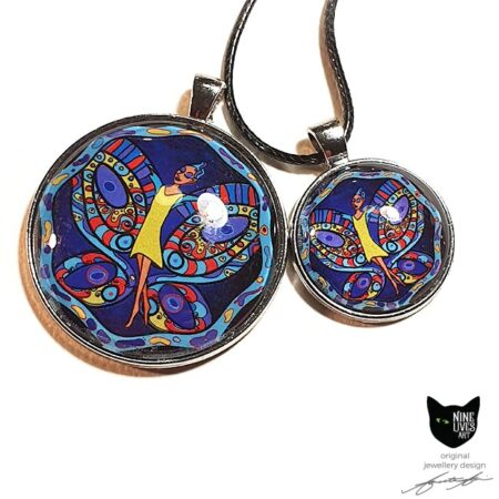Striking art pendants featuring fairy in yellow dress surrounded by her beautiful wings on midnight blue background