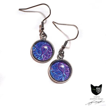 Paisley inspired artwork in purple hues - 12mm silver coloured earring settings with glass cabochons sealing the artwork