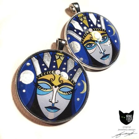 Moon Goddess artwork on 40mm round pendants, featuring silver enamel detail