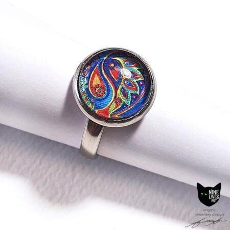 12mm blue paisley ring set under glass cabochon - hypoallergenic stainless steel 17.5mm inner diam