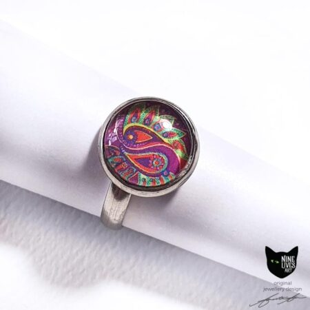 12mm pink and green paisley ring set under glass cabochon - hypoallergenic stainless steel 17.5mm inner diam