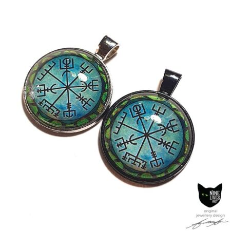 Norse wayfinder symbol featured on cabochon art pendants