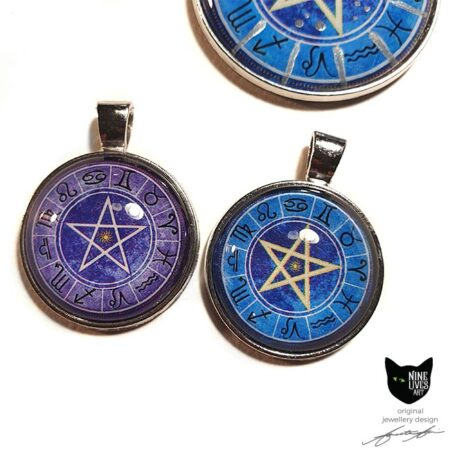 Purple and blue 25mm art pendants - silver coloured settings featuring zodiac artwork sealed under glass cabochon
