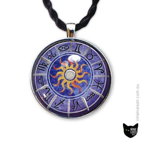 Purple zodiac pendant with sun in centre and silver enamel detail incorporated in artwork