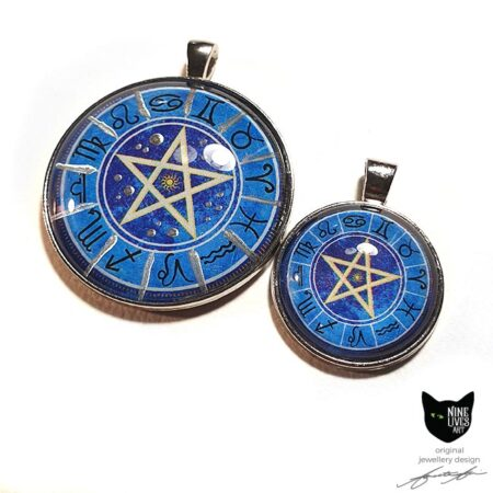 Zodiac pendants in blue with pentagram in centre - 25mm and 40mm setting