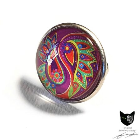 Pink and green paisley flower art ring set in stainless steel base with glass cabochon sealing artwork