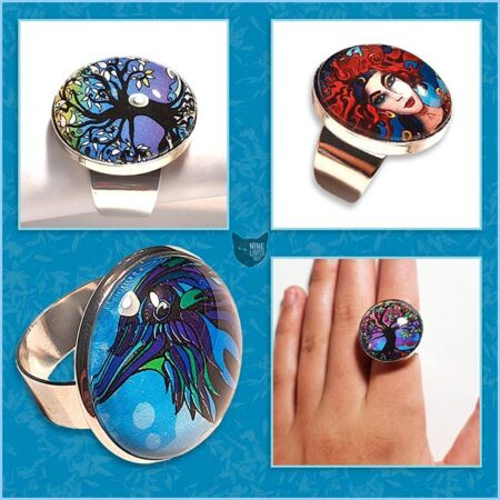 25mm glass dome cabochon rings mixed designs original artwork by Abolina Art
