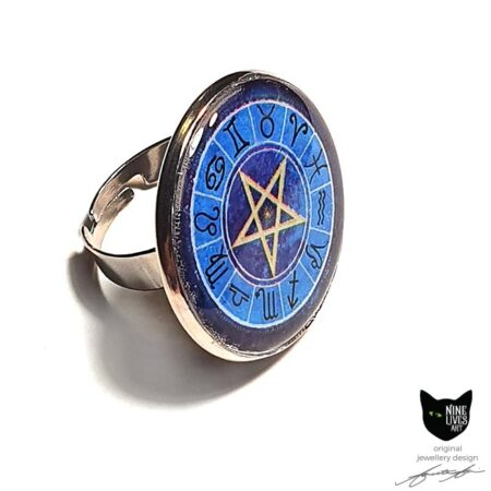 Zodiac Pentagram art ring sealed under 25mm flat resin disc in tarnish free adjustable ring base