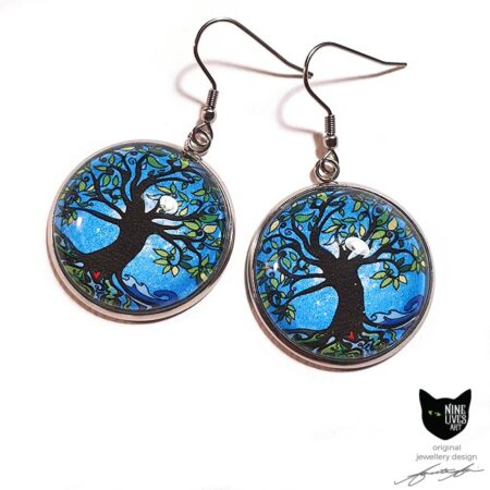Blue Dawn - Tree of Life earrings - perfect gift or treat for yourself, gorgeous colours, hypoallergenic and striking to wear